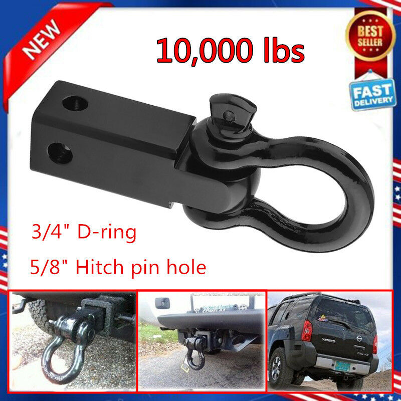 Tow Hook Receiver Hitch D Ring with 3/4 Inch Shackle 2 Inch Receiver 10000 Lbs