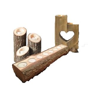Decorative Solid Hard Wood Candle Holders