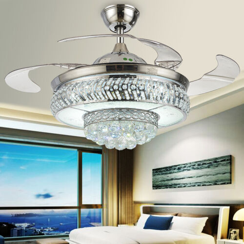 """42"""" Crystal Invisible Ceiling Fans Remote Retractable Blade"""