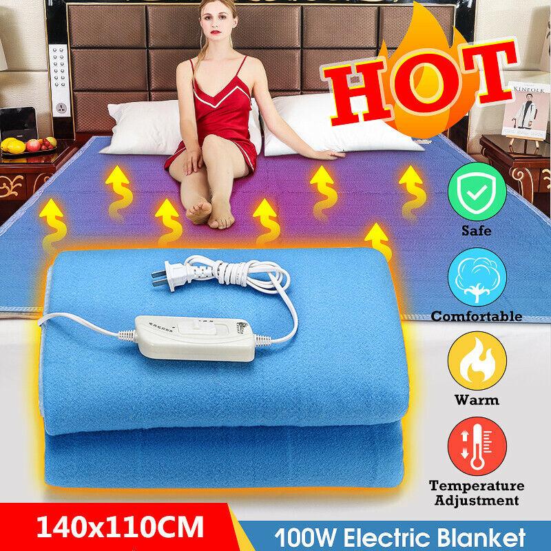 140x110cm 100W Electric Heating Blanket Winter Warm Flannel