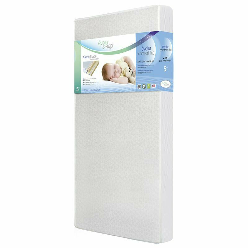 "Evolur Sleep 5"" Dual Ultra Firm Comfort Lite Crib Mattress in Silver"