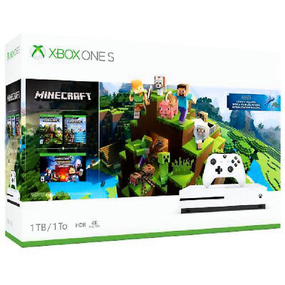 NEW SEALED - XBOX ONE S HDR 1TB HD Console - Minecraft Complete Adventure Bundle