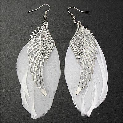 New Angel Wing Feather Dangle Earring Vintage Jewelry Long Earrings for Women WU