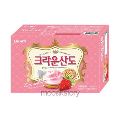 [Crown] Sando Strawberry Cream Cheese Sweet Biscuit Korean Food Snack 161 g