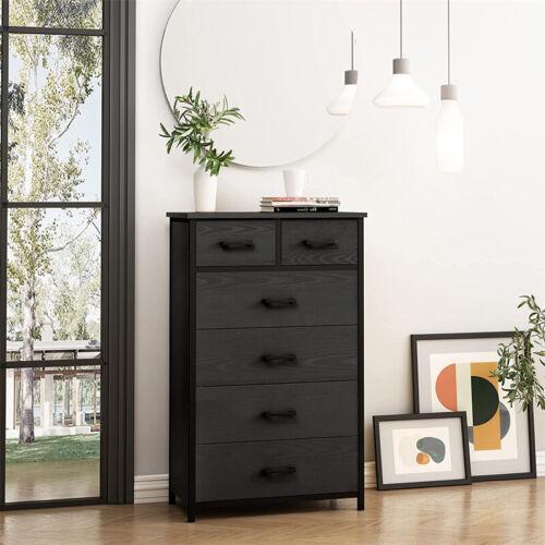 Used Fabric Dresser Chest 6 Drawers Bedroom Storage Organizer Wood Frame