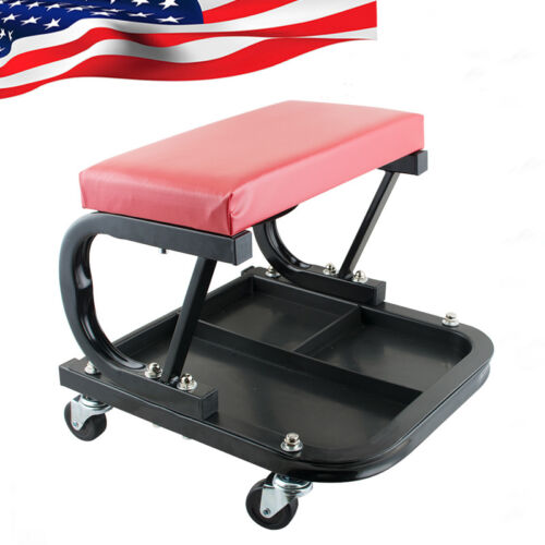 Mechanic Garage Creeper Seat Rolling Stool Chair Tray Storage Work Shop Tool US