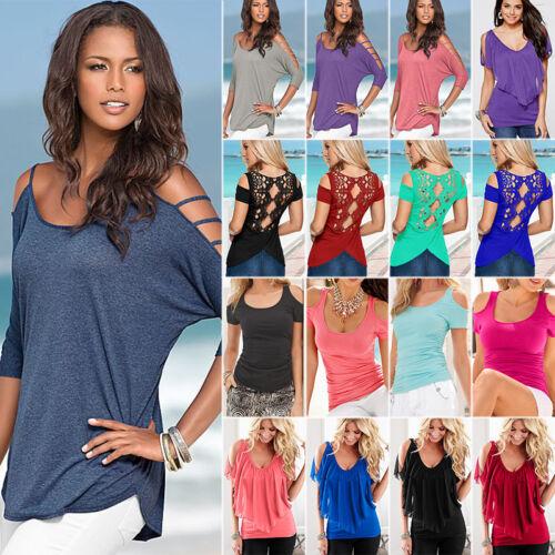 Damen Freizeitshirt T-Shirt Cut Out Tops Kurzarm Sommer Übergröße Shirts Bluse