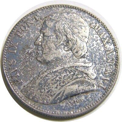 elf Italy Papal States 20 Baiocchi 1861 XVI R Silver    Pope Pius IX