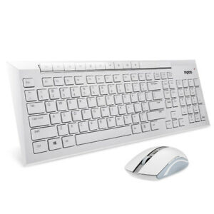 Rapoo 8200P 5.8GHz Wireless Multimedia Keyboard + Mouse - White