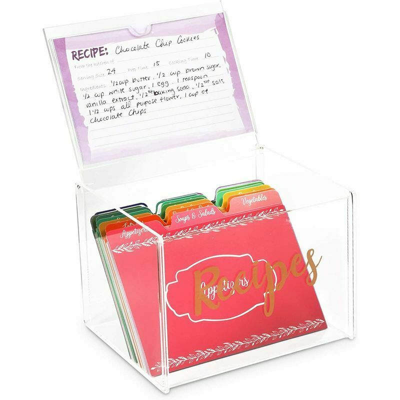 Recipe Cards with Organization Box,Recipe Holder Box with 60 Cards & 24 Dividers