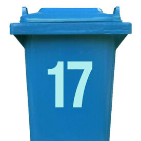 2 x House Number Stickers for Wheelie Bin (WHITE GLOSS) - UK