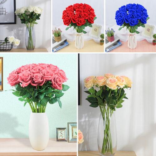 Rosen 20 Stück Seide Künstliche Rose Kunstblumen Blume Party Dekor Blumenstrauß