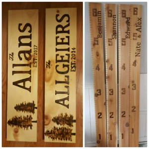 Wood burned Growth ruler and wooden signs