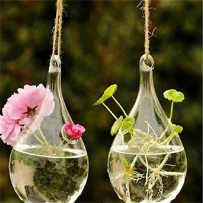 Clear Flower Hanging Vase Planter Terrarium Container Glass Home Wedding Decor;C