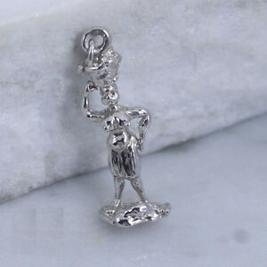 Sterling Silver Charm Pendant - Tribal Woman With Basket On Head