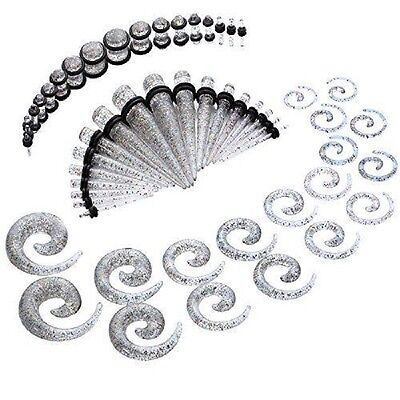 54Pcs Taper Kit Rainbow Glitter Spiral Gauges Set 14G-00G St