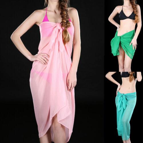 fa65fe33c1 Details about Womens Summer Chiffon Bikini Swimwear Sarong Pareo Beach  Scarf Cover Up Wrap