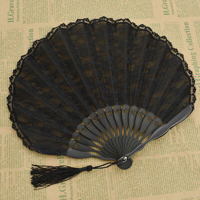 1pc Vintage Black Lace Hand Fan Pocket Folding Portable Bamboo Chinese - Black Lace Fans