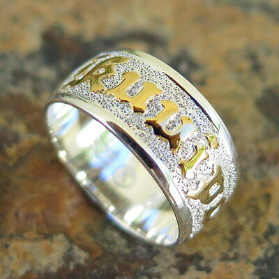 (Hawaiian 925 Silver Gold KUUIPO Flower Love Jewelry Wedding Ring Band 8mm SR1125)