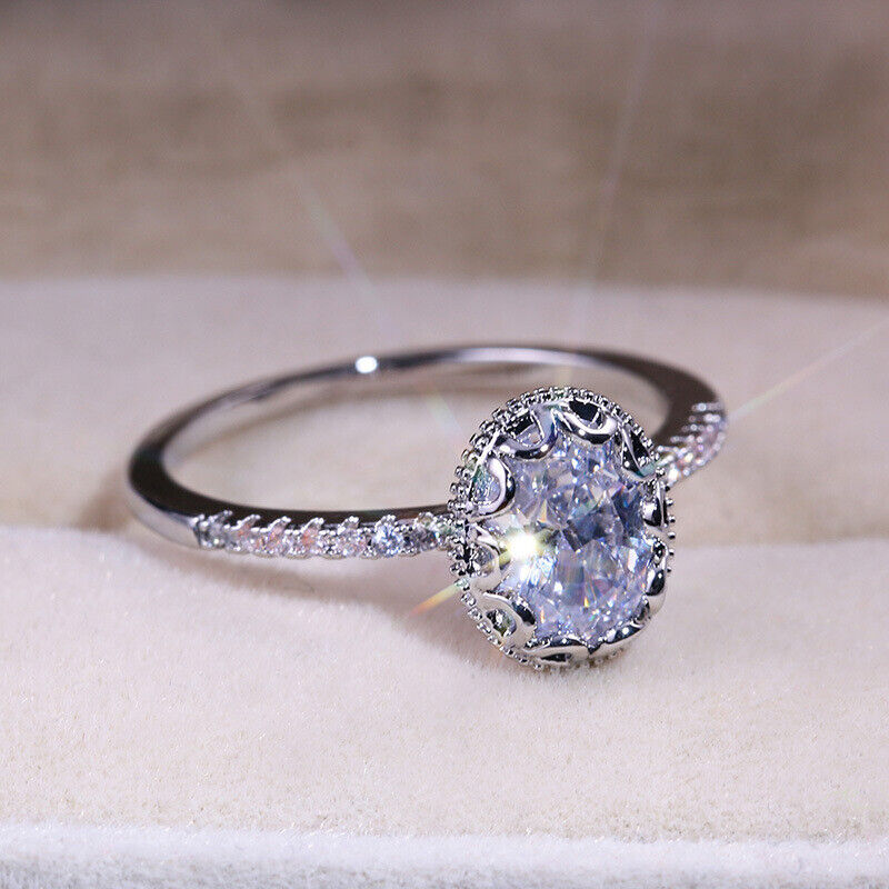Classic 925 Silver Engagement Rings For Women White Sapphire