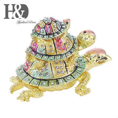 Rainbow Three Turtles with Baby Decor Jewelry Trinket Box Wedding Favors - Decorative Turtle Gift Box