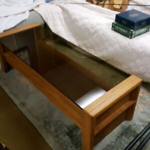 Teak and glass Coffee table and end table