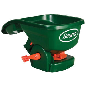 Hand-held spreader for fertilizer, grass seed and ice melter