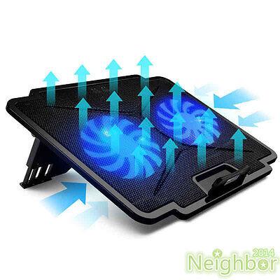 "2 Fans LED USB Cooling Adjustable Stand Pad Cooler For Laptop Notebook 14"" 15.6"""
