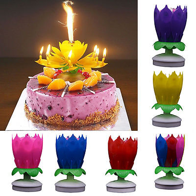Us Stock Musical Candle Lotus Romantic Flower Rotating Happy Birthday Party Gift