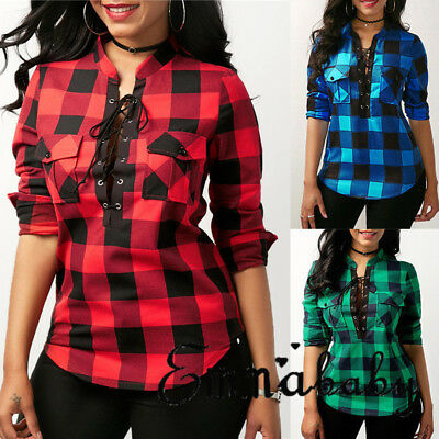 - US Womens Plaid Casual Tops Shirt Loose Fashion Blouse Clothes Plus Size T-Shirt