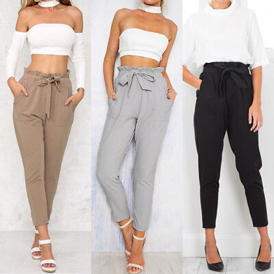 Women's High Waist Casual Drawstring Elastic Long Pants Ladies Pencil Trousers