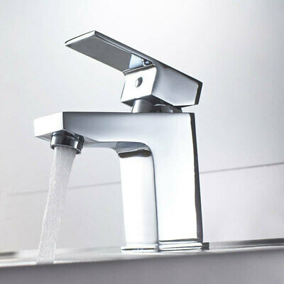 Modern Bathroom Square Mono Basin Sink Mixer Tap Lever Handle Chrome Cloakroom