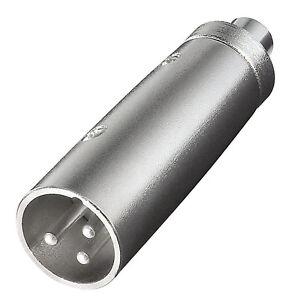 XLR Adapter : XLR Stecker 3pol.  auf Cinch Kupplung | Stabiles Metallgehäuse