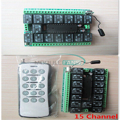 15CH/15 Channel 315MHZ RF Remote Control Transmitter Receiver Module 12V DC MF