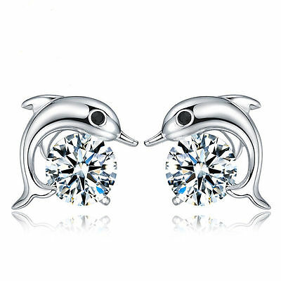 Earrings - Women 925 Sterling Silver Jewelry Elegant Crystal Ear Stud Earrings Cute Dolphin