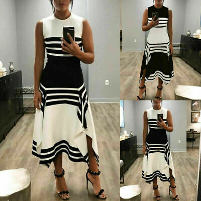 White and Black Women Sleeveless Bodycon Fit&Flare Cocktail Party Long Dress - White And Black Party
