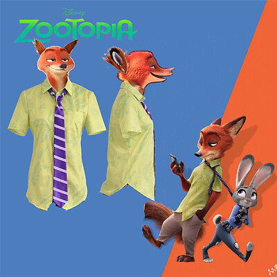 [In Stock] Shirt and Tie Only Zootopia Fox Nick Wilde  Cosplay Costume Halloween (Halloween Costumes Shirt And Tie)