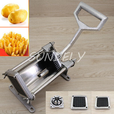 MANUAL POTATO CHIPPER VEGETABLE CUTTER CHIP STAINLESS STEEL 4 BLADES COMPACT NEW