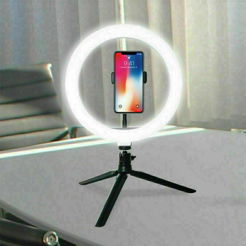 "6"" LED Ring Light with Tripod Stand Phone Holder for Live Dimmable Desk Makeup"