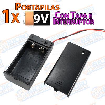 PORTAPILAS 9v con tapa cable alimentacion PCB battery holder