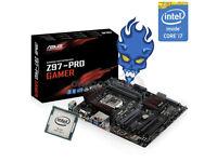 Intel i7 4790k 4.4ghz cpu + Asus z97 pro gamer motherboard, top range kit