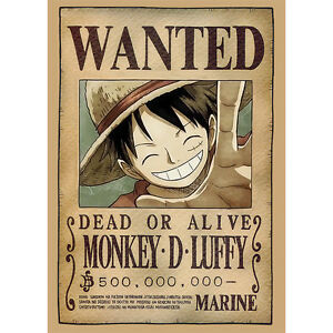 One Piece Wanted Poster Luffy/Ruffy 42x30cm, Steckbrief Dressrosa Anime