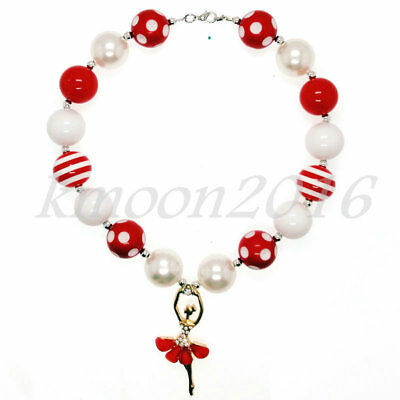 Red Ballet Girl pendant Chunky Beads Bubblegum Necklace for Kids Halloween