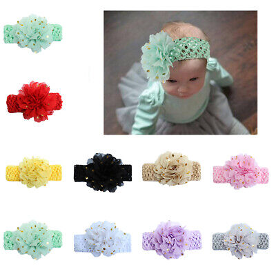 Baby Kids Headband Sequins Hair Accessories Large Flower Wide Elasticity Bands