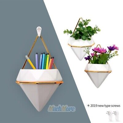 2x Plant Flower Pot Holder Indoor Hanging Planter Geometric Vase Wall Succulents