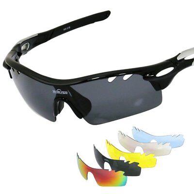 b9c042d0672b Cycling Sunglasses 5 Polarized Lens Interchangeable Running Hiking Googles  TR90