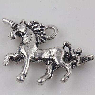 10Pcs Silver Unicorn Shape Charm Pendant Beaded Jewelry for Necklace Making DIY