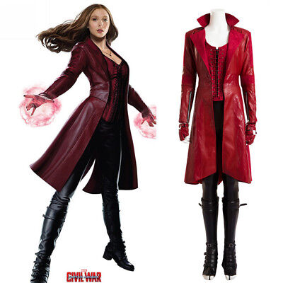 Captain Scarlet Kostüm (Captain America 3 Civil War Scarlet Witch Halloween Cosplay Costume Full Suit )