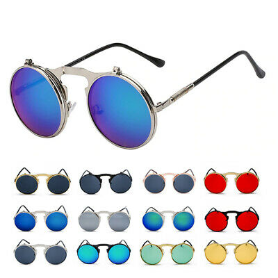 Vintage Retro Flip-up Steampunk Sunglasses Men Women Metal Round Eyewear Glasses