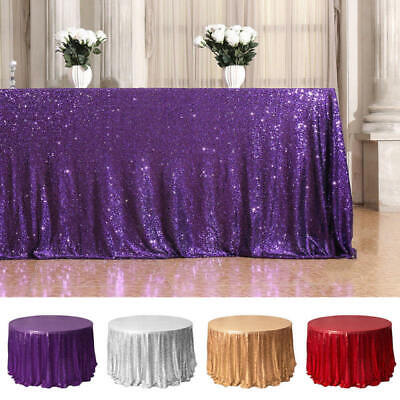 Glitter Table Cloth (Glitter Sequin Tablecloth Round Table Cloth Topper Wedding Party Banquet )